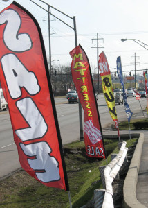 Feather banners on New Circle Road. Photo by Dave Cooper.