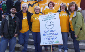 Daniel, the 24 year old, with Unitarian Universalists at I Love Mountains march in Frankfort on February 17. Photo courtesy of  Stacey Stone.