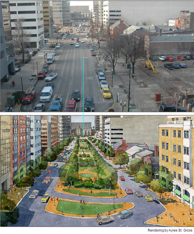 Design proposal for Vine Street rendered by Ayres St. Gross for 2006 Vine Street Linear Park LFUCG Task Force final report.