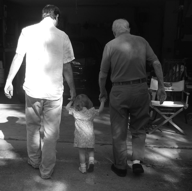 Dad. little Jo, and Tom. Photo by Julie Mayer.
