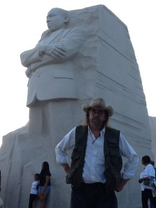 Jerry Moody beneath the MLK stature. Photo courtesy of Moody collection.